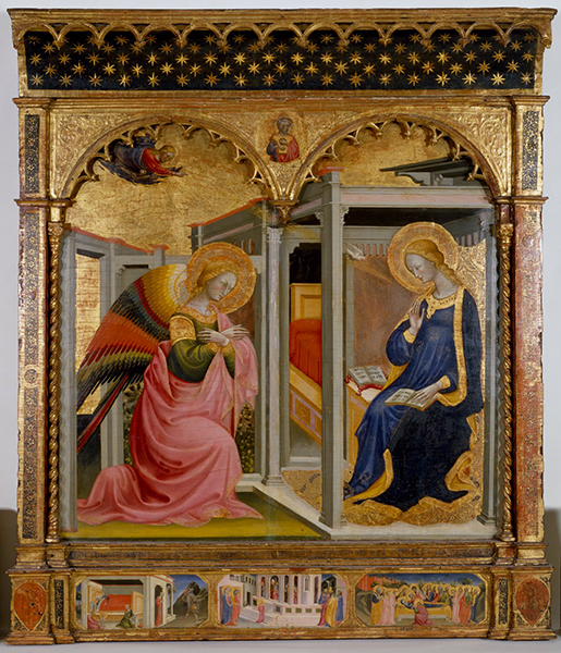 The Annunciation, by Bicci di Lorenzo and Stefano d'Antonio di Vanni, ca. 1430, tempera and gold leaf on panel. Image courtesy of the Walter's Art Museum.