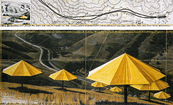 Christo and Jeanne-Claude, The Umbrellas (Joint Project for Japan and USA), Drawing 1988 in two parts,Pencil, pastel, charcoal, photograph by Wolfgang Volz, wax crayon, enamel paint and topographic map. Image courtesy of the artists.
