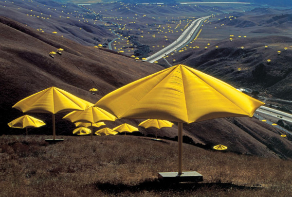 Christo and Jeanne-Claude, The Umbrellas, Japan-USA, 1984-91. Image courtesy of the artists; photography by Wolfgang Volz.