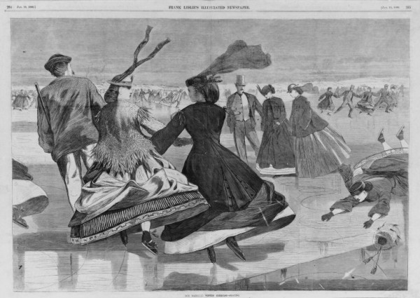Winslow Homer, Our National Winter Exercise — Skating, wood engraving, 1866. Image courtesy of the Brooklyn Museum.