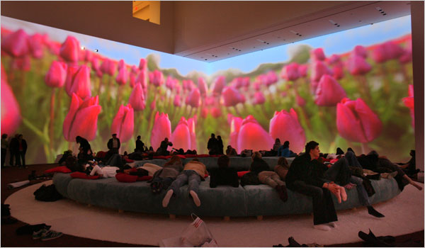 Pipilotti Rist's Pour Your Body Out (7354 Cubic Meters) at the Museum of Modern Art, New York, 2008. Image courtesy of the New York Times.
