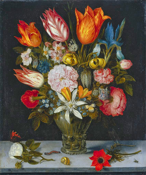 Ambrosius Bosschaert's 1606 oil on copper painting Flowers in a Glass, now at the Cleavland Museum of Art. Bosschaert's arrangement includes a cluster of daffodils in the upper left, but it is the large tulips around the bouquet's top perimeter, Bosschaert's arrangement includes a cluster of daffodils in the upper left, but it is the large tulips around the bouquet's top perimeter, silhouetted against the painting's dark background, that are its crowning glory. Image courtesy of ARTstor.