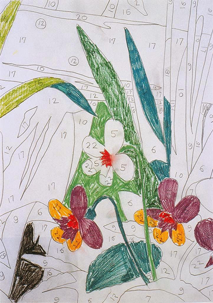 Andy Warhol's 1962 Do It Yourself (Narcissus), graphite and colored crayon on paper. Image courtesy of ARTstor.