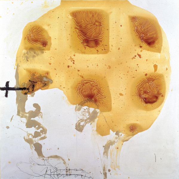 Antoni Tàpies, Cap i vernis (Head and varnish), 1990. Image courtesy of Contemporary Art Daily.