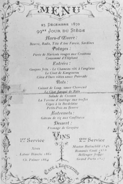 Christmas menu, 1870, at Chef Alexandre Étienne Choron's Paris restaurant Café Voisin. Image courtesy of The Francofiles.