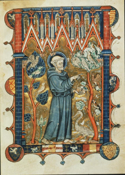"Psalter and Book of Hours of Yolande de Soissons: ms. 729, fol. 2: ""Saint Francis Preaching to the Birds,"" c. 1290. Image courtesy of Artstor."