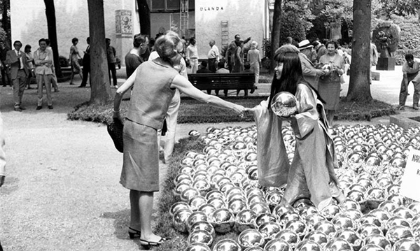 A photograph of Yayoi Kusama's 1966 performance/installation Narcissus Garden. Image courtesy of Yayoi Kusama: Look Now, See Forever.