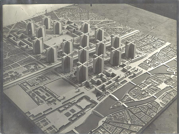 A model of Le Corbusier's Voisin Plan for Paris, 1925. Image courtesy of Fondation Le Corbusier.