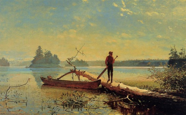 Winslow Homer, An Adirondack Lake, oil on canvas, 1870, part of the Henry Art Gallery's permanent collection. Image courtesy of Wahoo Art.
