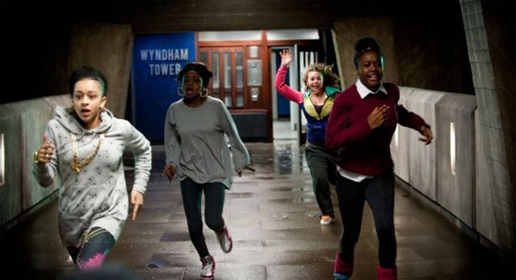 Teenage girls flee Wyndham Tower in Attack the Block. Image courtesy of Attack the Block.
