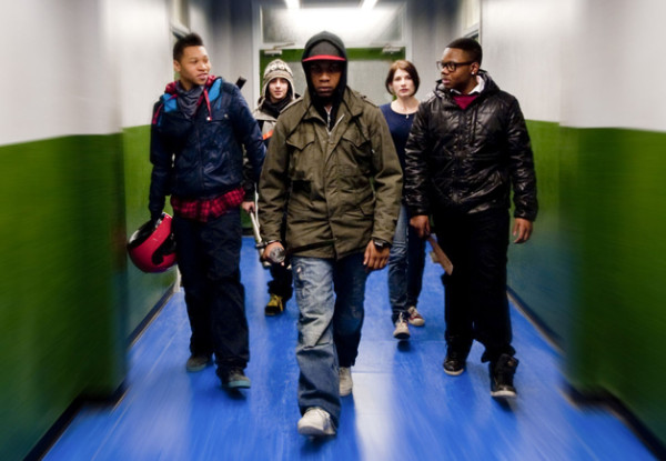 Moses leads his friends to safety in Attack the Block. Image courtesy of Film Deviant.
