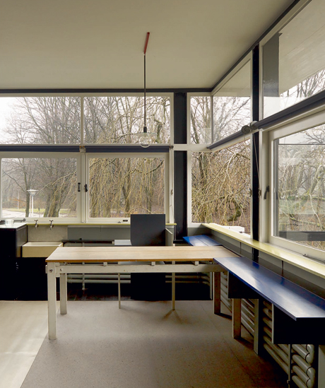 The Berlin Chair and open windows at the Rietveld Schröder House. Image courtesy of Phaidon.