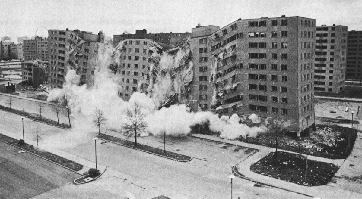 The demolition of part of the Pruitt-Igoe complex, March 1972. Image courtesy of Designerly Thinking.