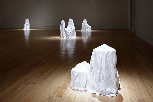 Cris Bruch's Weldona, Dresden, Limon, Leoville, 2015, flannel, fiberglass, and epoxy. Image courtesy of the Frye Art Museum. Photograph by Mark Woods.